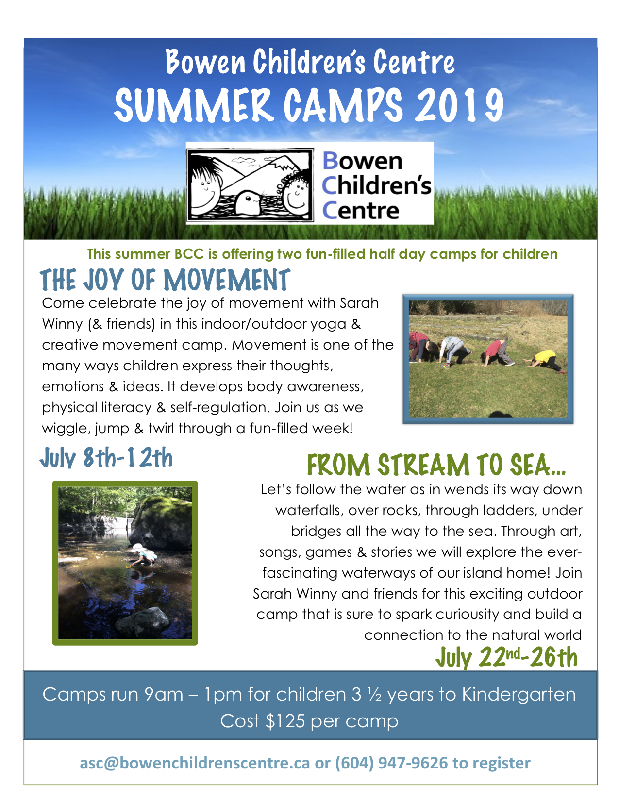 It's time to sign up for Summer camps!